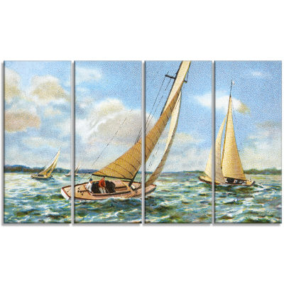 Vintage Boats Sailing Seascape Painting Canvas ArtPrint - 4 Panels