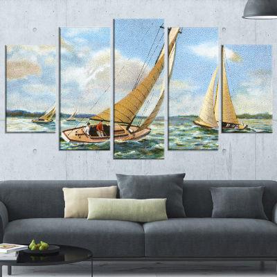 Designart Vintage Boats Sailing Seascape PaintingWrapped Art Print - 5 Panels