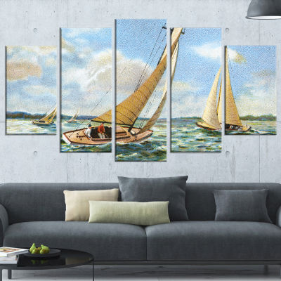 Designart Vintage Boats Sailing Seascape PaintingCanvas ArtPrint - 5 Panels
