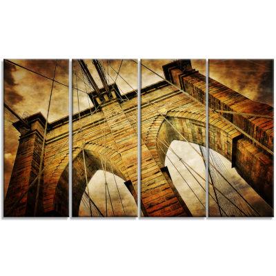 Designart Vintage Brooklyn Bridge Contemporary Canvas Art Print - 4 Panels