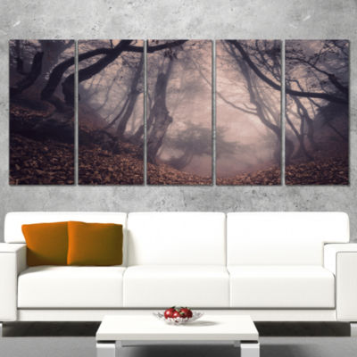 Designart Vintage Foggy Forest Trees Landscape Photography Canvas Print - 4 Panels