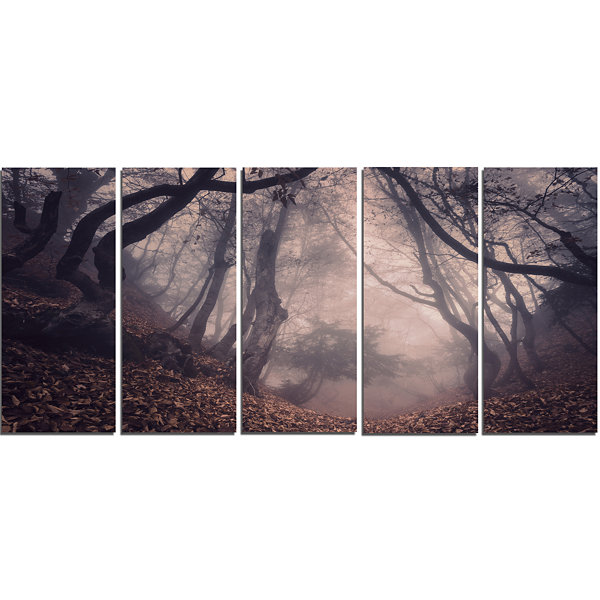 Designart Vintage Foggy Forest Trees Landscape Photography Canvas Print - 5 Panels