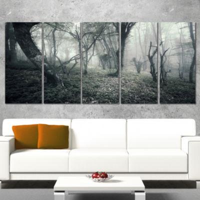 Designart Vintage Forest Filled with Fog LandscapePhotography Canvas Print - 4 Panels