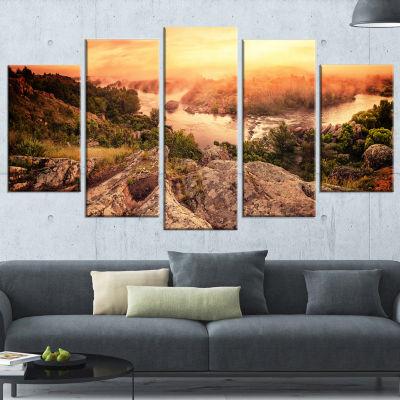 Designart Vintage Mountain Sunrise Landscape Photography Canvas Print - 4 Panels