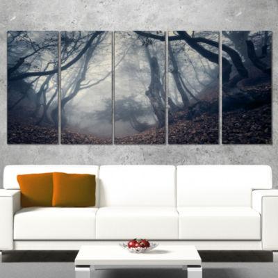Designart Vintage Path in Autumn Forest LandscapePhotography Canvas Print - 4 Panels