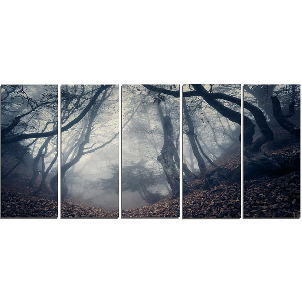 Designart Vintage Path in Autumn Forest LandscapePhotography Canvas Print - 5 Panels