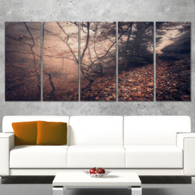 Designart Vintage Style Leaves and Trees LandscapePhotography Canvas Print - 4 Panels