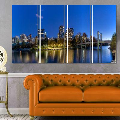 Designart Calgary Skyline Cityscape Photography Canvas Art Print - 4 Panels