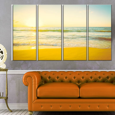 Designart Calm and Colorful Sunset at Beach Seascape Canvas Art Print - 4 Panels