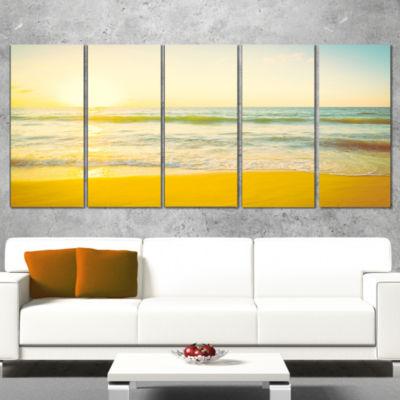 Designart Calm and Colorful Sunset at Beach Seascape Canvas Art Print - 5 Panels