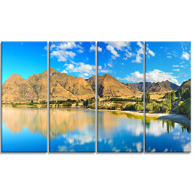 Designart Wanaka Lake Landscape Photography CanvasArt Print- 4 Panels
