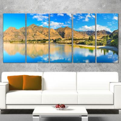 Designart Wanaka Lake Landscape Photography CanvasArt Print- 5 Panels