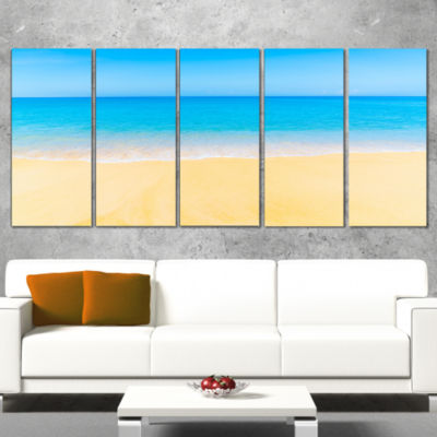 Designart Calm Blue Sea and Sky Seascape Canvas Art Print -5 Panels