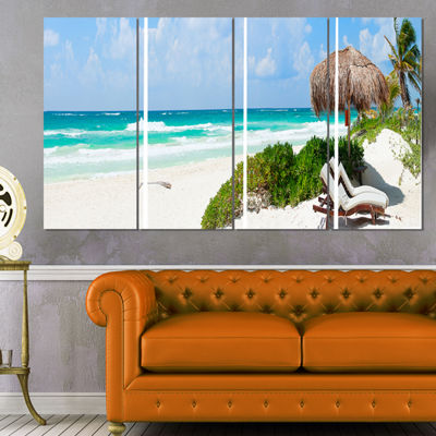 Designart Calm Caribbean Beach Panorama Photography Landscape Canvas Print - 4 Panels