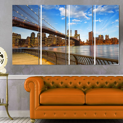 Designart Calm Sky Over Brooklyn Bridge CityscapePhoto Canvas Print - 4 Panels