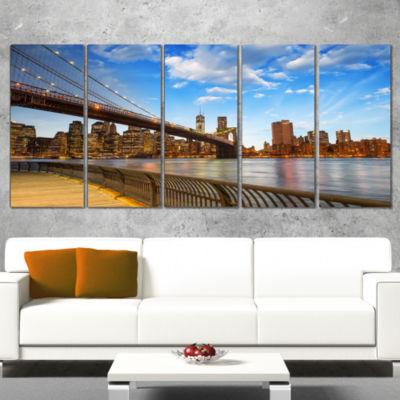 Designart Calm Sky Over Brooklyn Bridge CityscapePhoto Canvas Print - 5 Panels