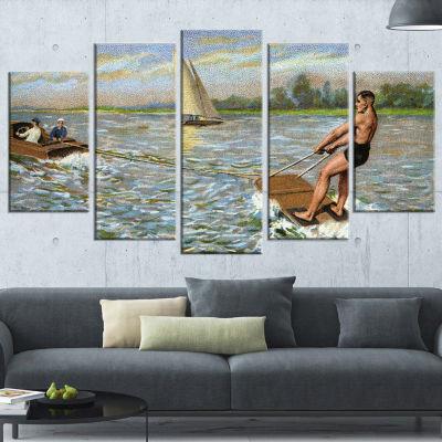 Designart Water Skiing Photography Wrapped Art Print - 5 Panels