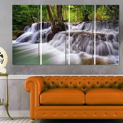 Designart Waterfall Huai Mae Kamin Landscape Art Print Canvas - 4 Panels
