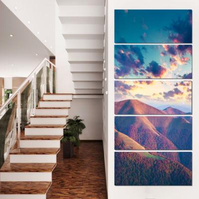 Designart Carpathian Hills Under Clouds LandscapePhotography Canvas Print - 5 Panels