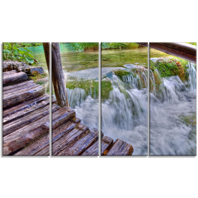 Designart Waterfall in Plitvice Lakes Landscape Photo CanvasArt Print - 4 Panels
