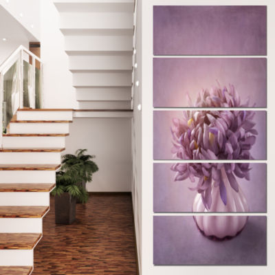 Autumn Purple Flower In Vase Floral Canvas Art Print - 4 Panels