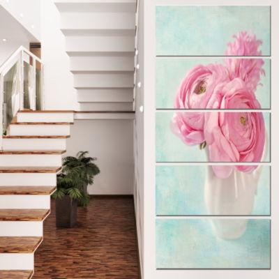 Design Art Pink Ranunculus Flowers In Vase FloralCanvas Art Print - 4 Panels