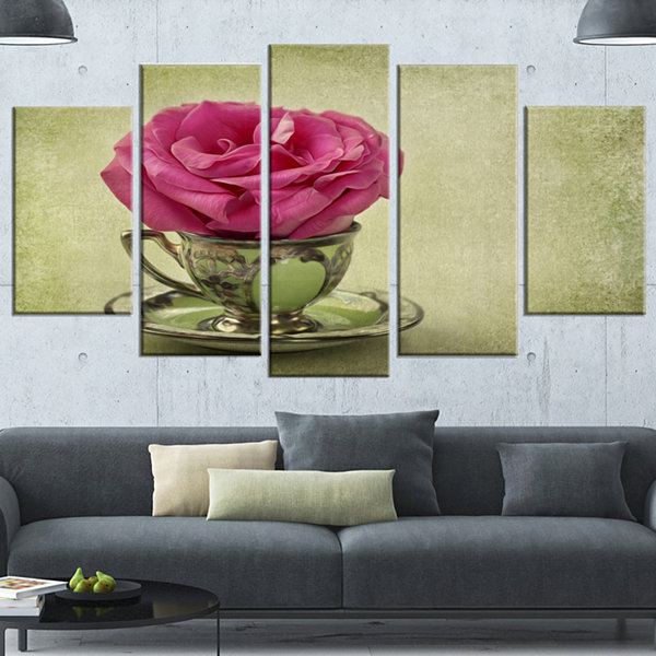 Designart Red Rose In Cup And Saucer Large FloralCanvas Art Print - 5 Panels