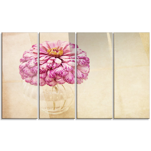 Designart Pink Flower In Vase Watercolor Floral Canvas Art Print - 4 Panels