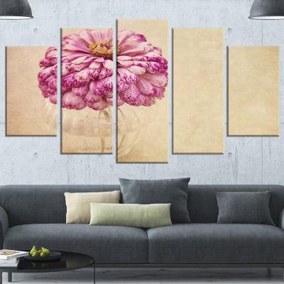 Pink Flower In Vase Watercolor Large Floral CanvasArt Print - 5 Panels