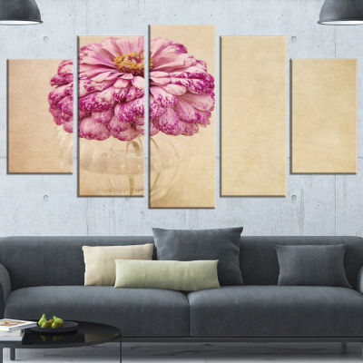 Pink Flower In Vase Watercolor Floral Canvas Art Print - 5 Panels