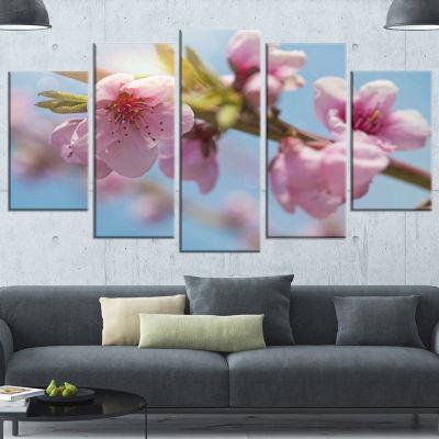 Designart Stem Of Peach Blossom Flowers Floral Canvas Art Print - 5 Panels
