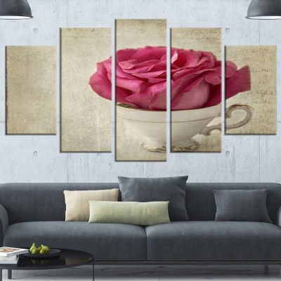 Designart Red Rose In Cup Photography Large FloralCanvas Art Print - 5 Panels