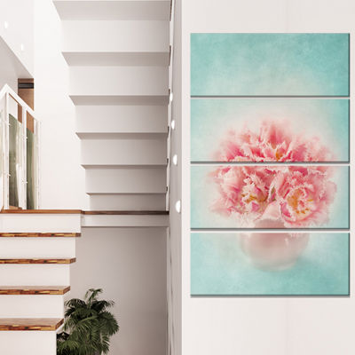 Designart Pink Tulips In Vase Photography FloralCanvas Art Print - 4 Panels