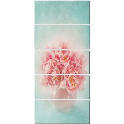 Pink Tulips In Vase Photography Floral Canvas ArtPrint  - 5 Panels
