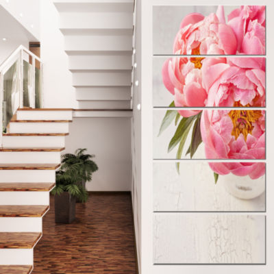 Peony Flowers In Vase Photography Floral Canvas Art Print - 4 Panels