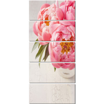 Peony Flowers In Vase Photography Floral Canvas Art Print  - 5 Panels