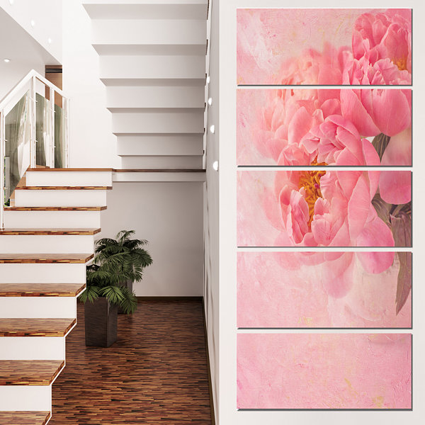 Designart Peony Flowers On Pink Background FloralCanvas Art Print  - 5 Panels