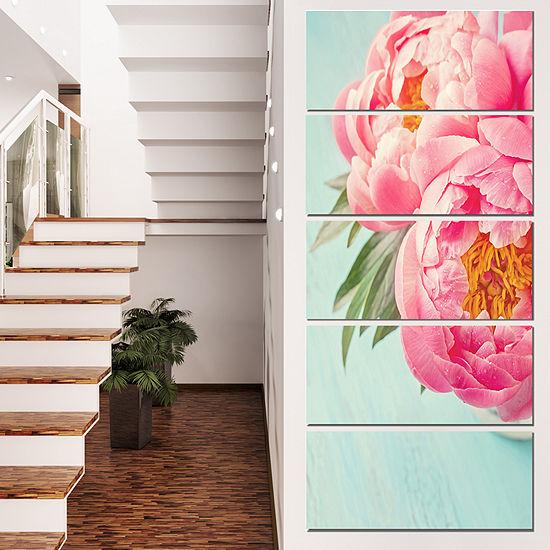 Designart Peony Flowers On Blue Background FloralCanvas Art Print  - 5 Panels