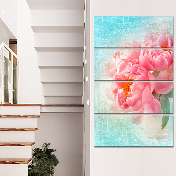 Designart Peony Flowers Merged To Blue Floral Canvas Art Print - 4 Panels