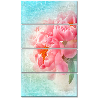 Peony Flowers Merged To Blue Floral Canvas Art Print - 4 Panels
