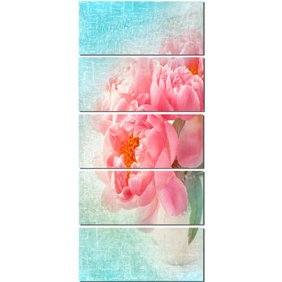 Designart Peony Flowers Merged To Blue Floral Canvas Art Print  - 5 Panels