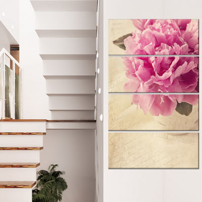 Designart Peony Flowers In Vase On Table Floral Canvas Art Print - 4 Panels