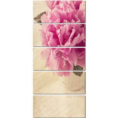Designart Peony Flowers In Vase On Table Floral Canvas Art Print  - 5 Panels