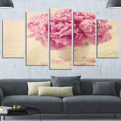 Designart Bunch Of Peony Flowers On Table Large Floral Canvas Art Print - 5 Panels