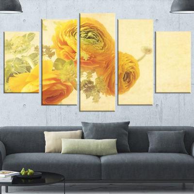 Bunch Of Yellow Ranunculus Flowers Floral Canvas Art Print - 5 Panels