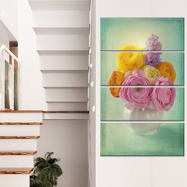 Designart Pink And Yellow Ranunculus Flowers Floral Canvas Art Print - 4 Panels