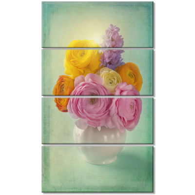 Pink And Yellow Ranunculus Flowers Floral Canvas Art Print - 4 Panels