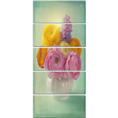 Pink And Yellow Ranunculus Flowers Floral Canvas Art Print  - 5 Panels