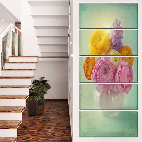 Designart Pink And Yellow Ranunculus Flowers Floral Canvas Art Print  - 5 Panels