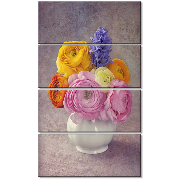 Designart Multicolor Ranunculus Flowers In Vase Floral Canvas Art Print - 4 Panels